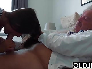 Grandpa Plumbs Teen Legal years old tight pussy in bedroom