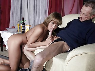 Very Old Man Humps Very Young Girl And Cums On Her Tongue