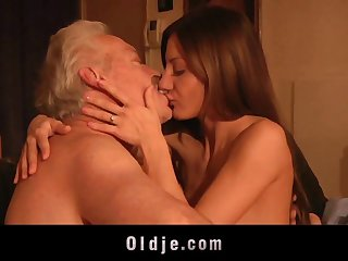 Old man fucked me my tight young pussy I swallow his spunk